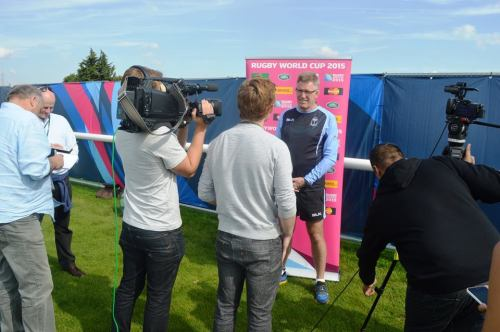 Fiji coach John McKee faces the English media after a training session in London. Photo: Fiji Rugby