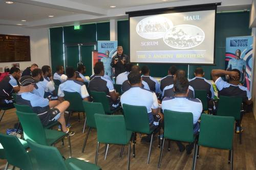 Frans Ludeke has a classroom session with the team. Photo: Fiji Rugby