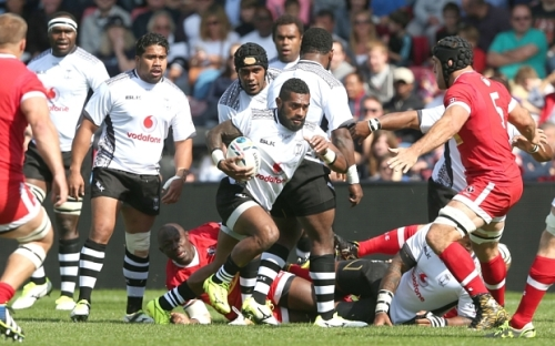 Nikola Matawalu of Fiji makes a break against Canada at the Twickenham Stoop. Photo: Andrew Fosker/Seconds Left Images