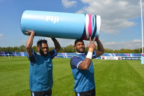 Fullback Metuisela Talebula (left) and Waisea Nayacalevu with a tackle bag during training in London. Photo: Fiji Rugby