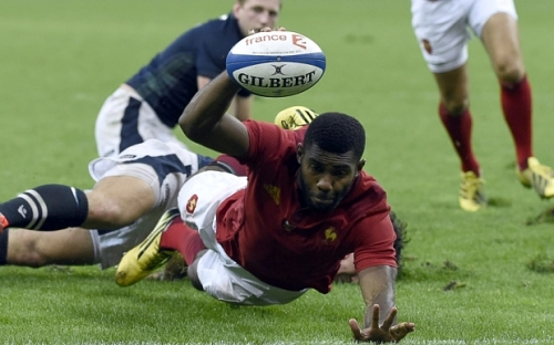 France's winger Noa Nakaitaci scores a try during the rugby union test match between France and Scotland at the Stade de France in Saint-Denis last month. Photo: AFP