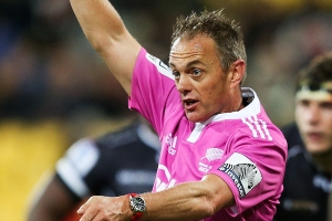 Referee Chris Pollock makes a call during a Super Rugby match. Photo: Getty Images
