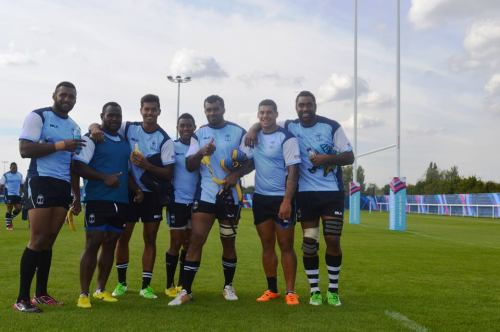 Fiji players pose for a picture during training at the London Irish Rugby club in London. Photo: Fiji Rugby