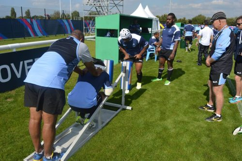The props work on the scrum machines during training for Fiji in London. Photo: Fiji Rugby