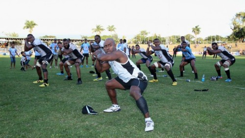 Mosese Rauluni leads the Fiji team in the cibi. Photo: Rugby World