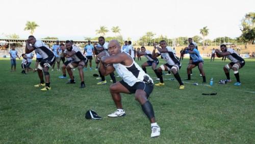 Mosese Rauluni leads the Fiji team in the cibi. Photo: Rugby World