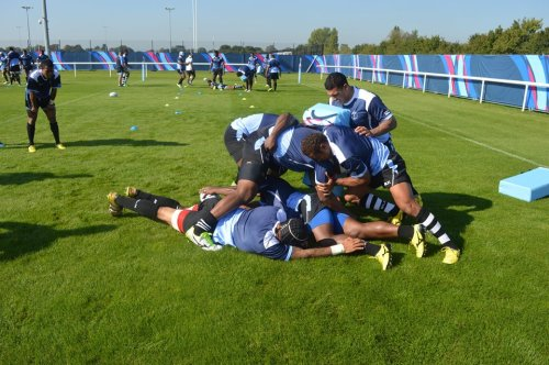 Fiji practice at the London Irish Club grounds ahead of their match against England. Photo: Fiji Rugby