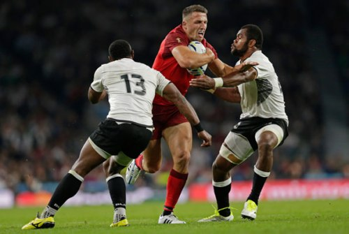Sam Burgess attacks against Fiji in the opening match of the Rugby World Cup. Photo: Wiltshire Times