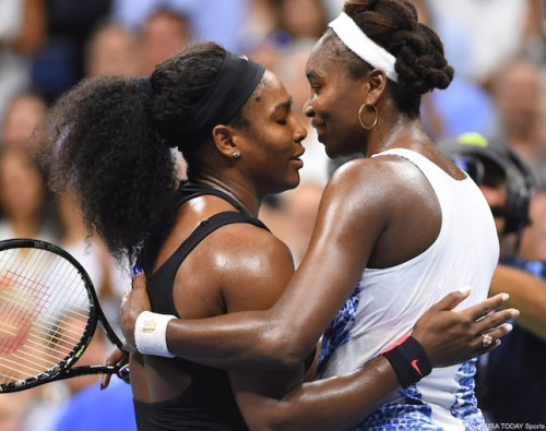 Serena Williams of the USA (left) hugs sister Venus Williams of the USA after their match on day nine of the 2015 U.S. Open tennis tournament at USTA Billie Jean King National Tennis Center.  Robert Deutsch-USA TODAY Sports