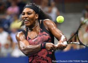 Serena Williams of the USA hits to Venus Williams in the U.S. Open quarterfinal match. Photo: Robert Deutsch-USA TODAY Sports
