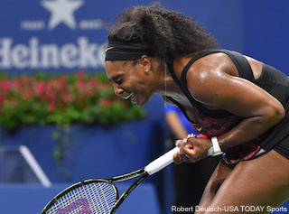 Serena Williams winning the 3rd game in the second set against  Venus. Photo: Robert Deutsch-USA TODAY Sports