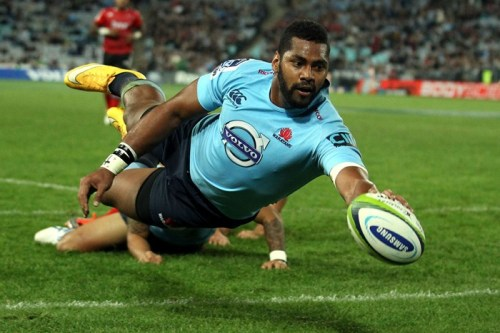 Taqele Naiyaravoro scores for the Waratahs in Super Rugby. Photo: 3News