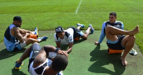 The national team doing workouts in the Aldershot Army Base in London yesterday. Photo: FRU