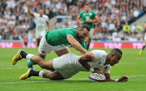 England's Anthony Watson goes over to score their second try against Ireland last wekend. Photo: Andrew Matthews/PA Wire