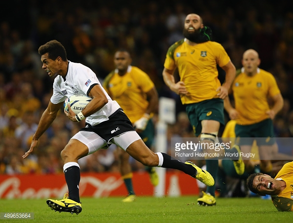 Fiji's flyhalf Ben Volavola goes in for Fiji's lone try against the Wallabies. Photo: Getty Images