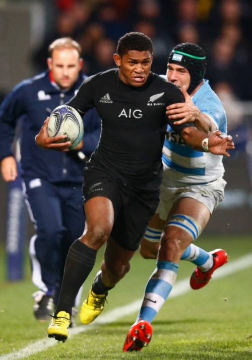 Waisake Naholo of the New Zealand All Blacks makes a break during The Rugby Championship match between the New Zealand All Blacks and Argentina in Christchurch. Photo: Phil Walter/Getty Images