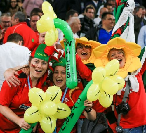 Wales fans celebrate after their win at Twickenham. Photo: WalesOnline