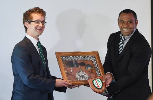 Fiji skipper Akapusi Qera was presented with mementos from the Rugby Union during the welcome ceremonies at Hampton Court Palace last Friday. Photo: Fiji Rugby