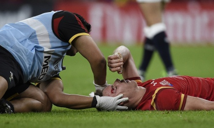 Liam Williams will not return to action until he has been cleared to by a specialist after he was left concussed by Tom Wood's boot during Wales' Rugby World Cup win over England. Photograph: Franck Fife/AFP/Getty Images