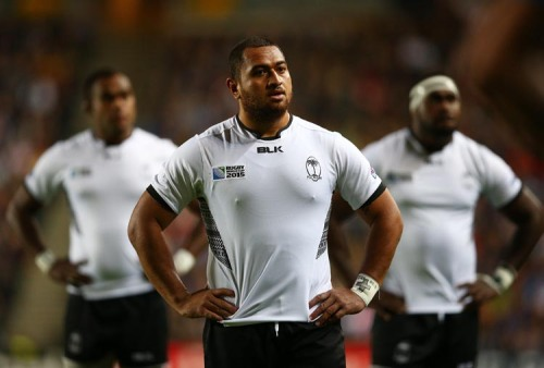 Leeroy Atalifo of Fiji (C) and team mates look on during the 2015 Rugby World Cup Pool A match between Fiji and Uruguay at Stadium mk in Milton Keynes, United Kingdom.  Photo: Paul Gilham/Getty Images