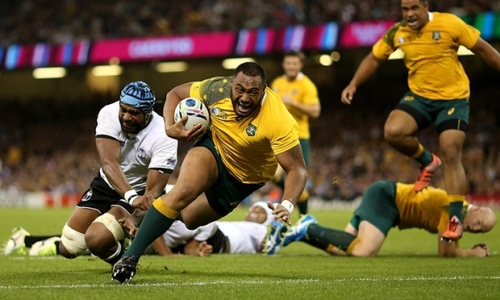 Wallaby Sekope Kepu goes in for a try against Fiji at the Millennium Stadium. Photo: World Rugby