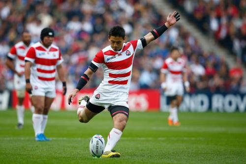 Japan's fullback Ayumu Goromaru kicks for a penalty and has amassed 45 points in the competition. Photo: World Rugby