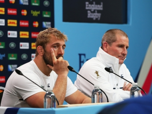 Chris Robshaw and Stuart Lancaster face the media after the clash against Australia at Twickenham. Photo: World Rugby