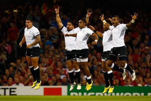 Fiji players finishing off the cibi (theebee) before the kickoff at the Millennium Stadium in Cardiff. Photo: WalesOnline