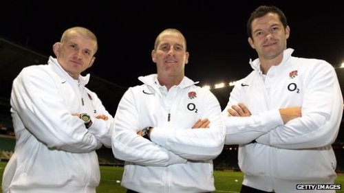 Coaches Graham Rountree, Stuart Lancaster and Andy Farrell.
