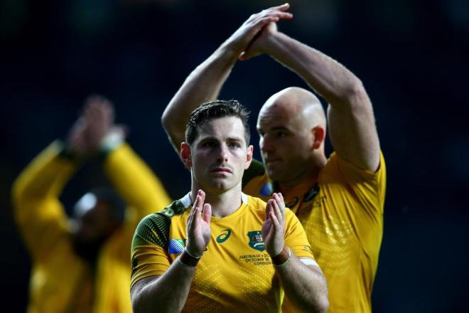 Wallaby flyhalf Bernard Foley celebrates the successful penalty which won the match for Australia. Photo: World Rugby