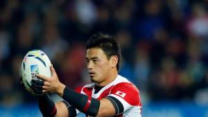 Japan's Ayumu Goromaru lines up a conversion kick Photo: Reuters / Eddie Keogh Livepic