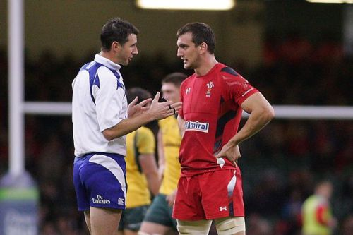 The South African ref gets along well with Welsh skipper Sam Warburton. Photo: WalesOnline