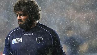 Uruguay prop Mario Sagario warms up for the match at the MK Stadium in Milton Keynes. Photo: World Rugby