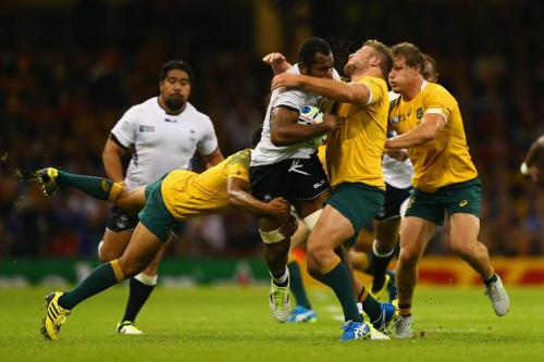 Fiji's flanker Peceli Yato clashes into Australian James Slipper in their match two weeks ago in Cardiff. Photo: SMH